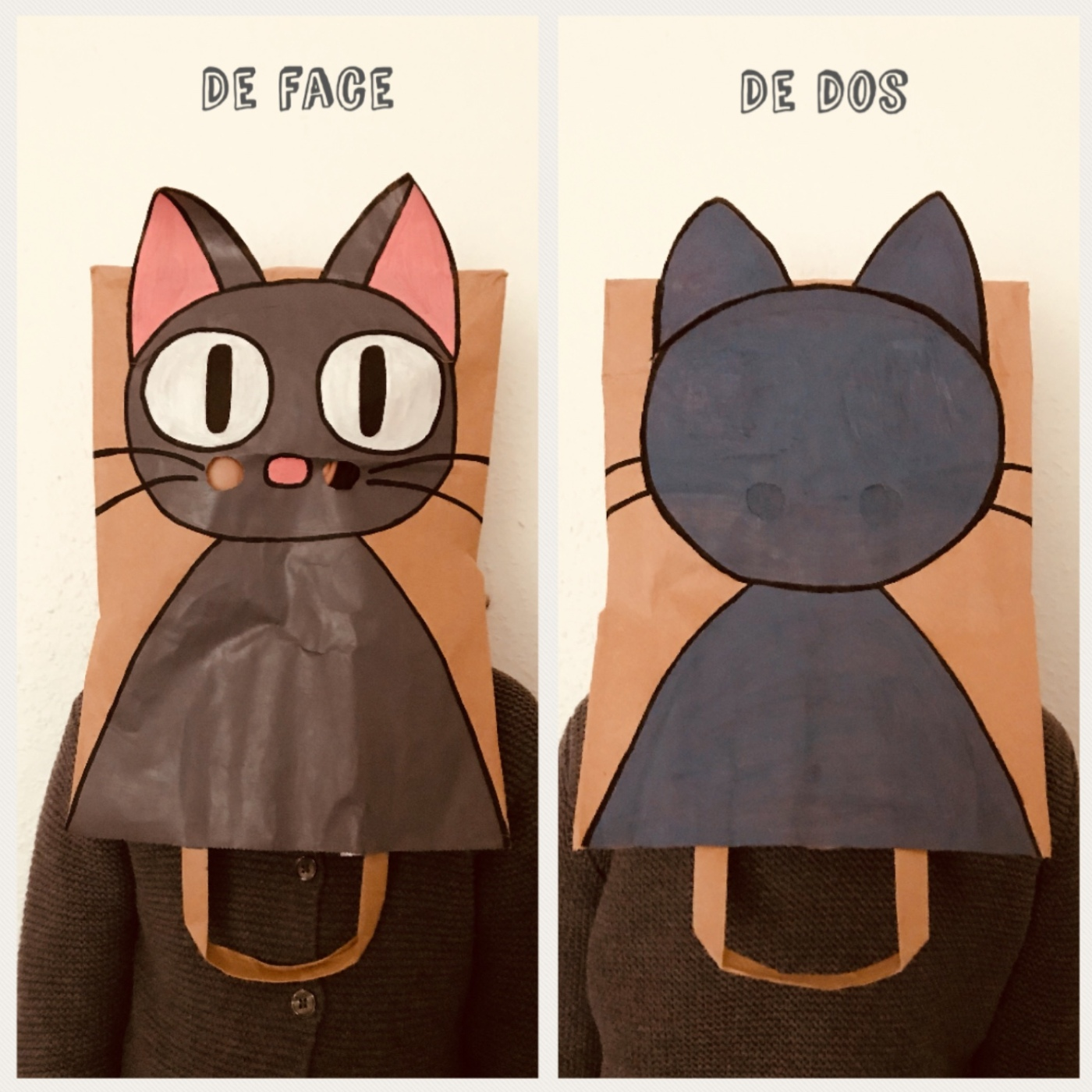 Masque chat sac en papier craft diy carnaval bricolage enfant