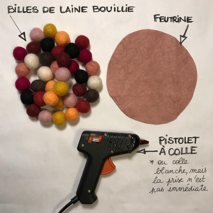 Dessous chic dessous de plat en boules de laine bouillie fiche matériel DIY craft bricolage enfant dessous de plat en billes de laine bouillie