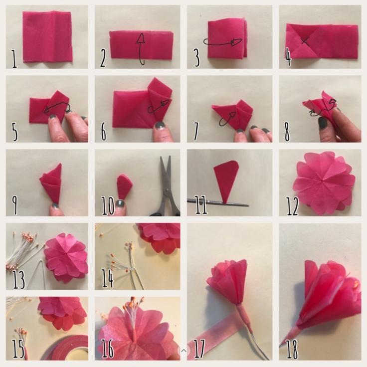 Fleur de cerisier explications DIY fleurs en papier origami