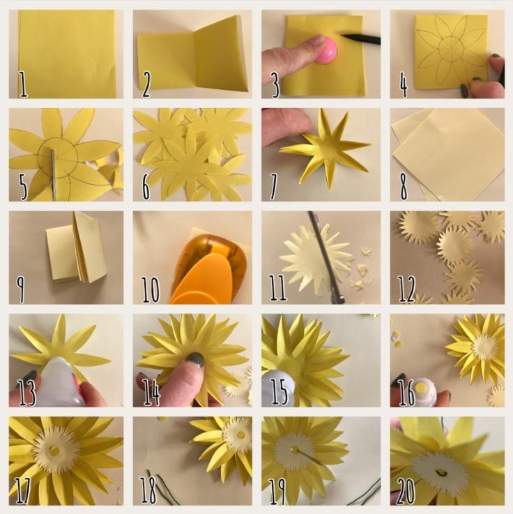 Tournesol en papier explication DIY fleur en papier