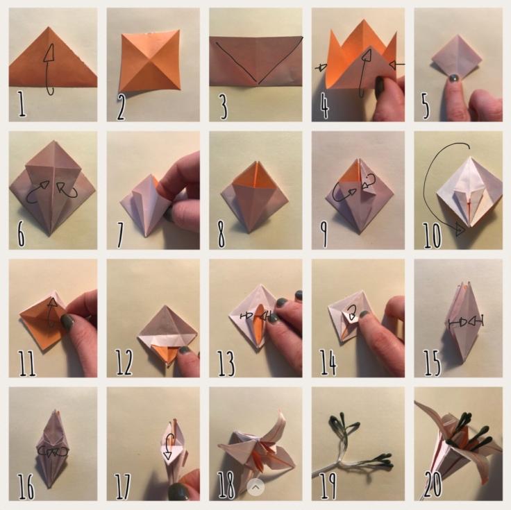 Fleur de lys explications DIY fleurs en papier origami