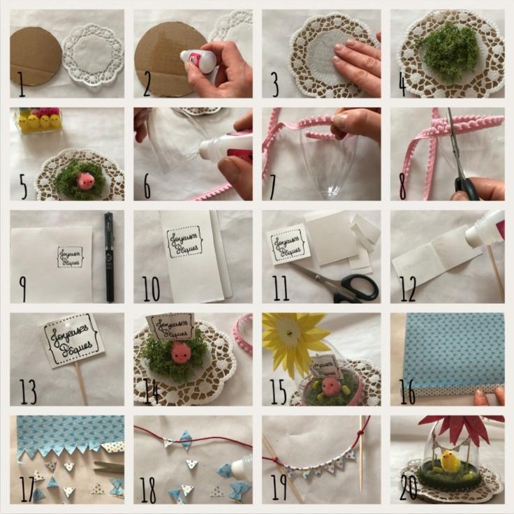 Pâques sous cloches explications pas à pas DIY bricolage enfants déco de Pâques