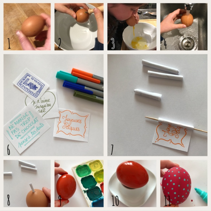 Message dans les oeufs de Pâques - diy - craft - bricolage enfant - peinture sur œuf - vider un œuf - Pas à pas