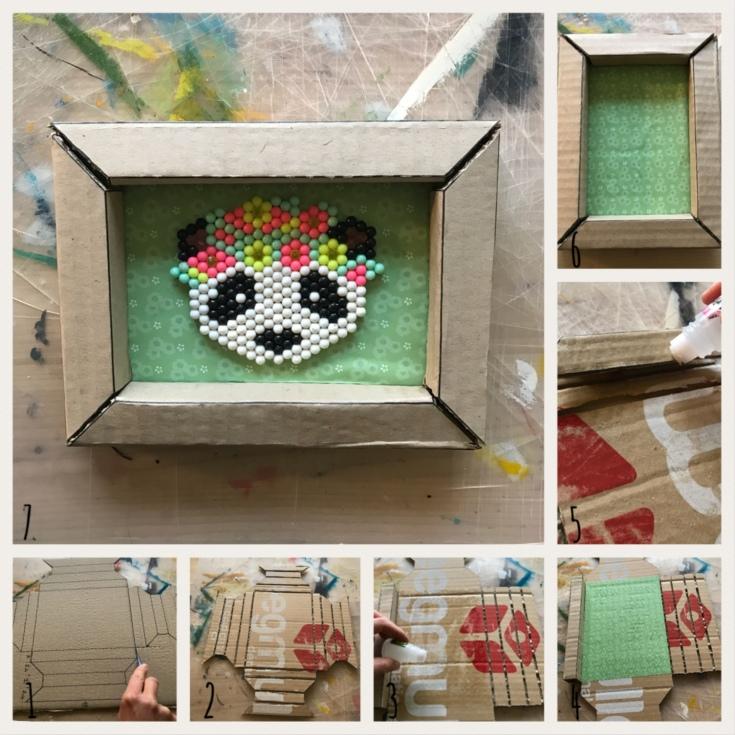 Recyclage de carton pas à pas DIY bricolage enfant craft cadre en carton cadre en volume
