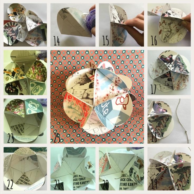 Mobile- flyer recyclage papier origami craft bricolage enfant DIY Pas à pas 2