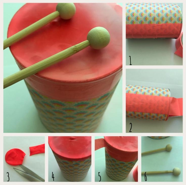 A tambours battants recyclage boite de conserve fête de la musique DIY craft bricolage enfant Pas à pas
