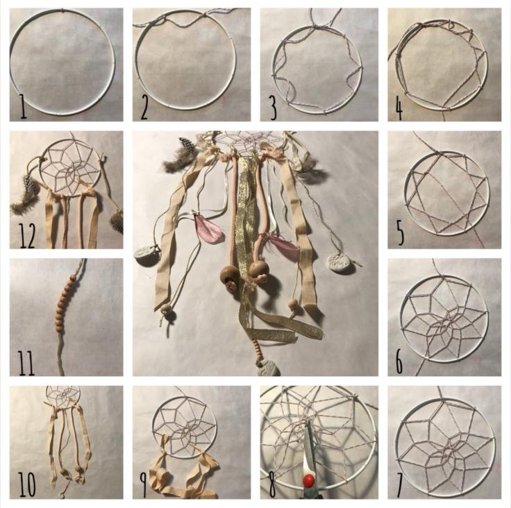 Attrape rêves indien diy bricolage enfant craft plumes ruban Pas à pas