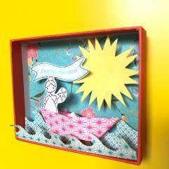 Vive les vacances : le décor est planté ! Décor en boîte bricolage enfant craft DIY grandes vacances été message box Image à la une