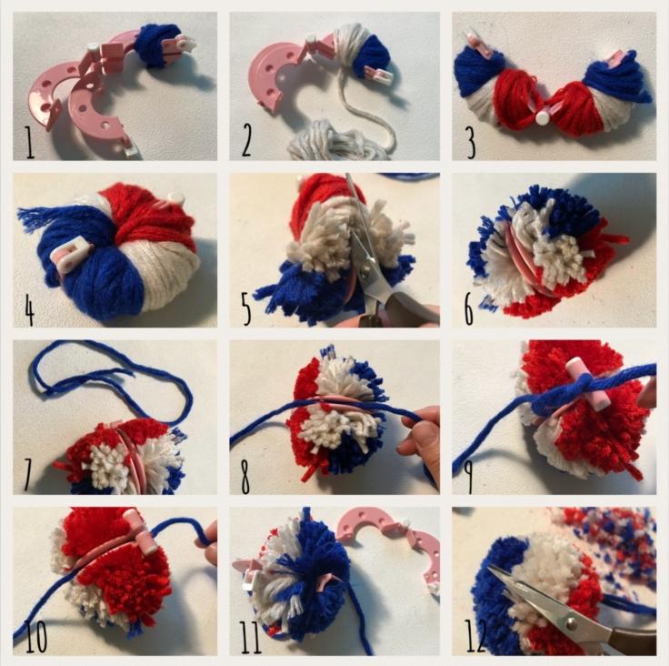 Tous français cette semaine bricolage enfant DIY craft bleu-blanc-rouge cocarde moulin à vent pompon en laine patriotes Pas à pas pompon