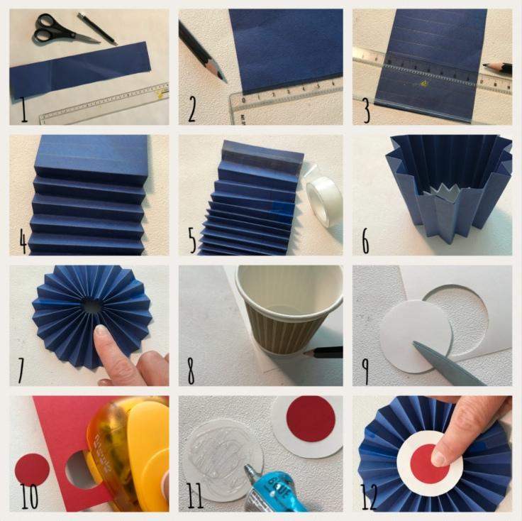 Tous français cette semaine bricolage enfant DIY craft bleu-blanc-rouge cocarde moulin à vent pompon en laine patriotes pas à pas 1