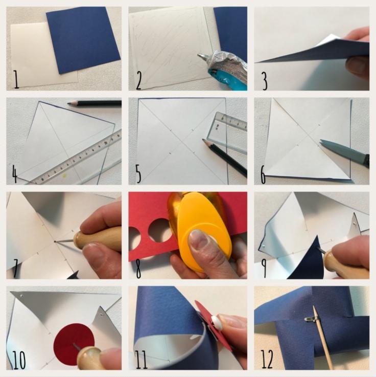 Tous français cette semaine bricolage enfant DIY craft bleu-blanc-rouge cocarde moulin à vent pompon en laine patriotes Pas à pas moulin à vent