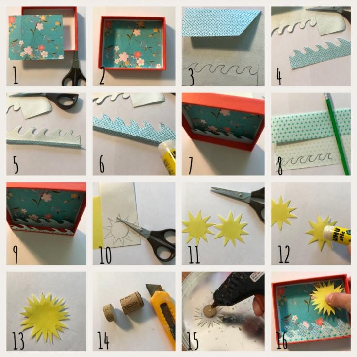 Vive les vacances : le décor est planté ! Décor en boîte bricolage enfant craft DIY grandes vacances été message box Pas à pas 1ère partie