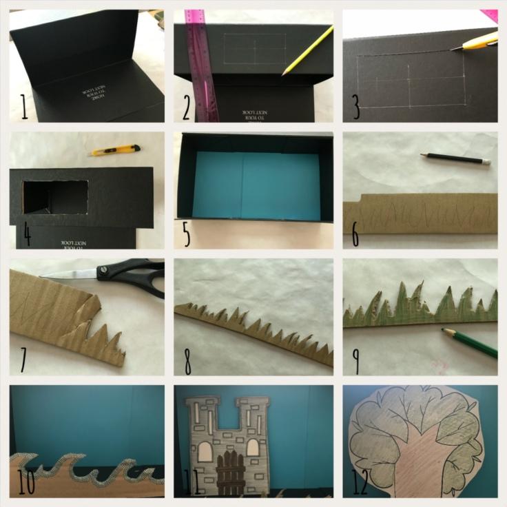 Petit théâtre d'été simplissime DIY bricolage enfants craft recyclage jeu fait maison imagination créativité Pas à pas théâtre et decors