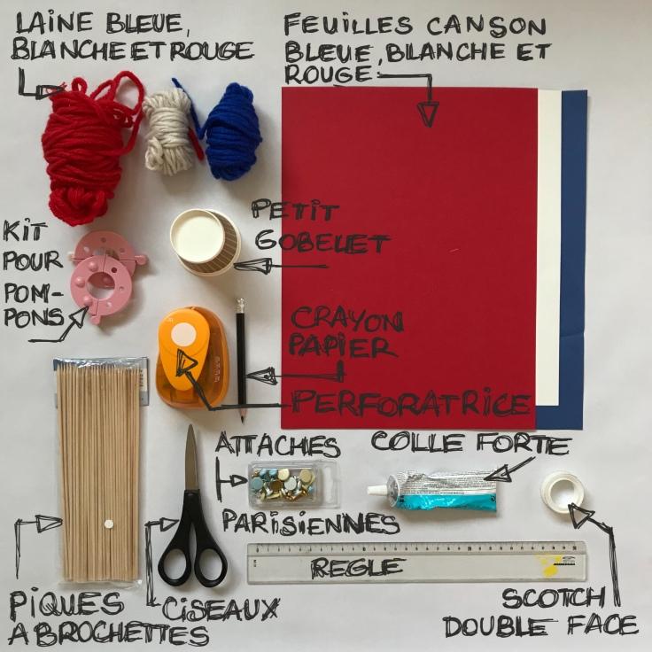 Tous français cette semaine bricolage enfant DIY craft bleu-blanc-rouge cocarde moulin à vent pompon en laine patriotes