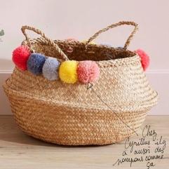 Panier d'été pompons perles ruban customisation déco rafraîchissement bricolage diy craft enfant famille et sinon 4