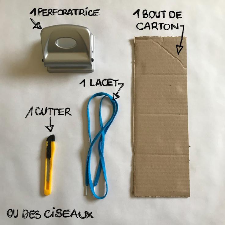 Fais tes lacets toi-même carton recyclage apprentissage recyclage DIY bricolage enfant craft for kids Fiche matériel