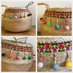 Panier d'été pompons perles ruban customisation déco rafraîchissement bricolage diy craft enfant famille image à la une