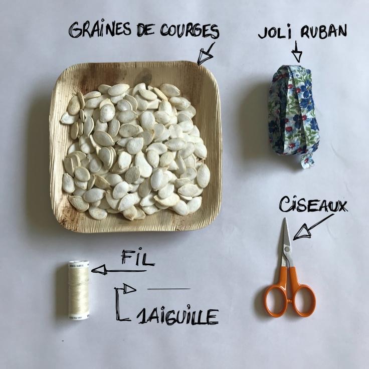 Le collier de Josiane diy bricolage en famille craft enfant ruban graines de courges