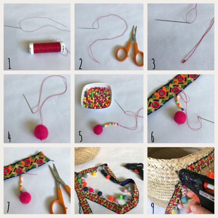 Panier d'été pompons perles ruban customisation déco rafraîchissement bricolage diy craft enfant famille Pas à pas