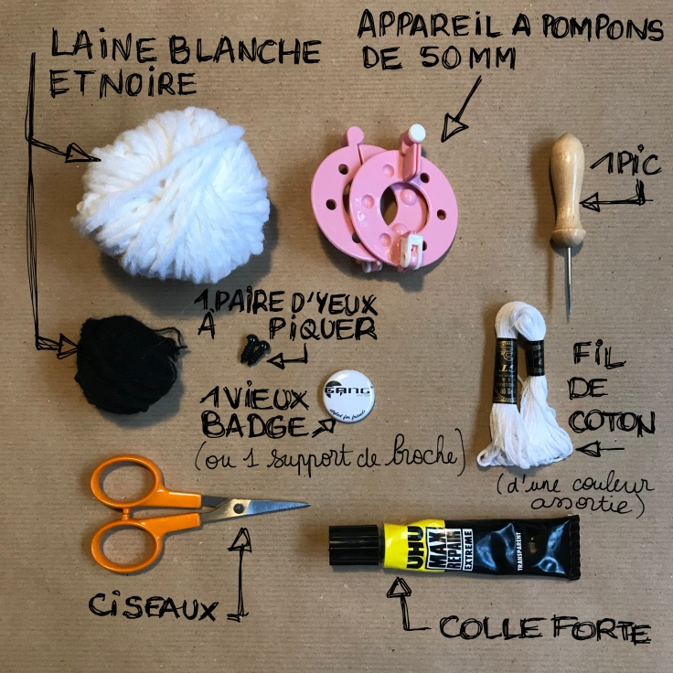 Nounours polaire broché en vue - broche - laine - pompon animal - bricolage enfant - DIY - craft for kids - Fiche materiel