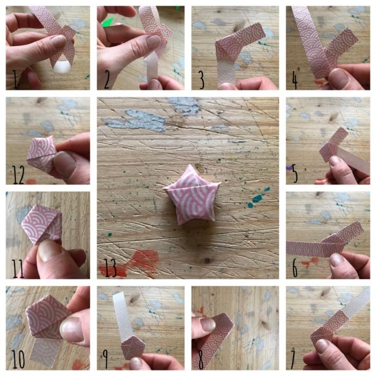 Couronne de porte - avent - bricolage enfant - craft for kids - DIY - bricolage papier - Noël - origami - pas à pas - etoiles roses