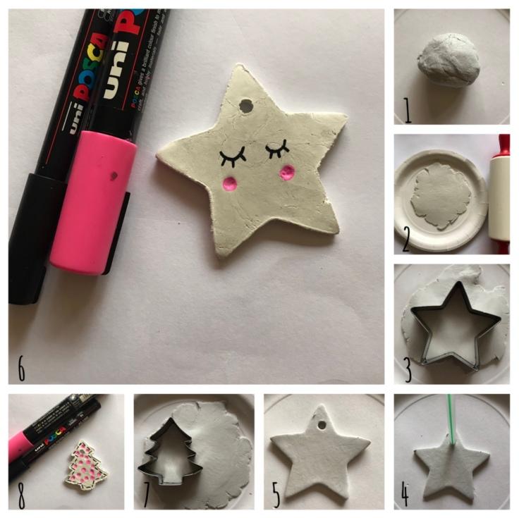 Noel quand tu nous tiens - DIY - bricolage enfant - craft for kids - décoration de Noël pour sapin - pâte auto-durcissante - pas à pas