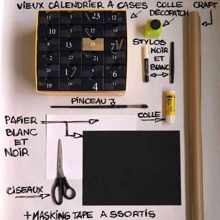 Calendrier en noir et blanc - DIY - bricolage enfant - craft for kids - calendrier de l avent - papier - recyclage - Fic