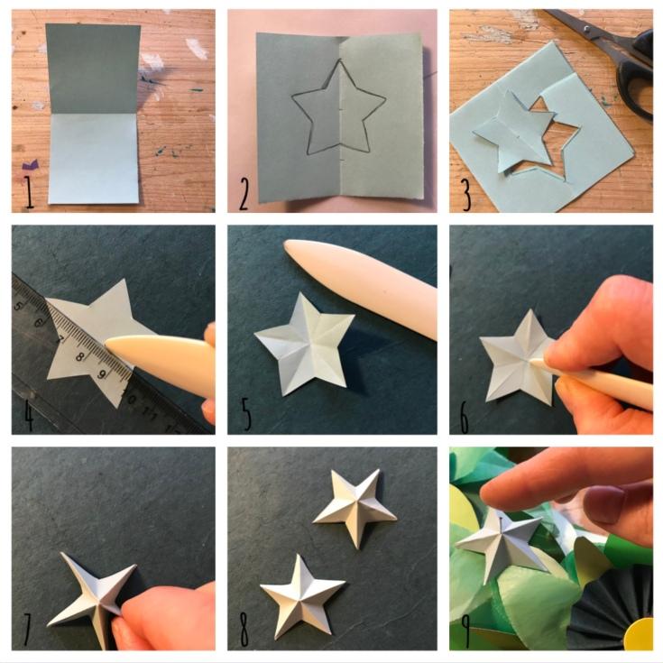 Couronne de porte - avent - bricolage enfant - craft for kids - DIY - bricolage papier - Noël - origami - pas à pas - étoiles bleues