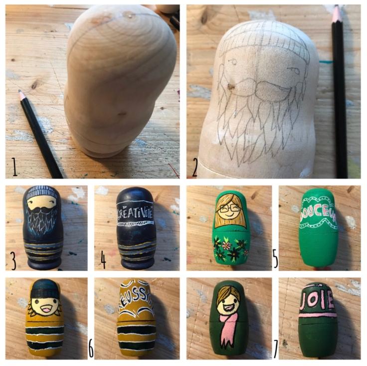 Tous nos vœux de bonne année - poupées gigognes personnalisé - cadeaux - vœux - peinture - bricolage enfant - craft for kids - DIY -