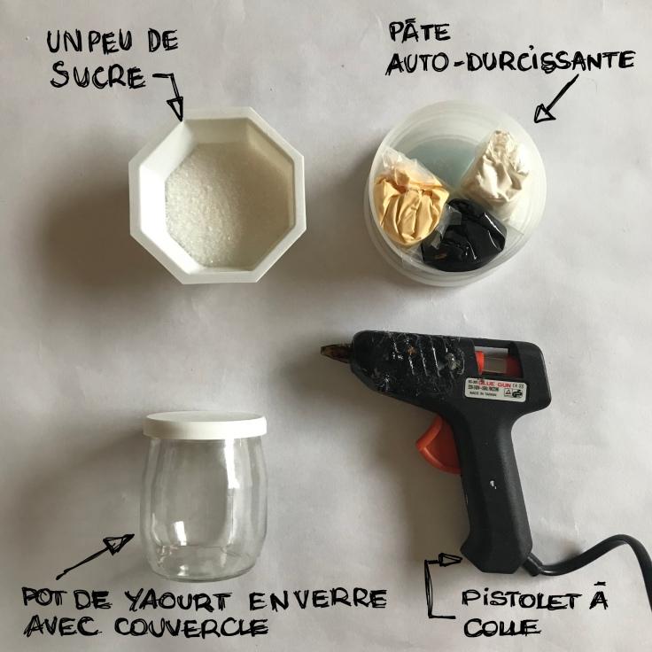 Petit décor d'hiver en noir et blanc - boule à neige -DIY - bricolage enfant - craft for kids - pot de yaourt - recyclage -pâte autodurcissante - fiche materiel