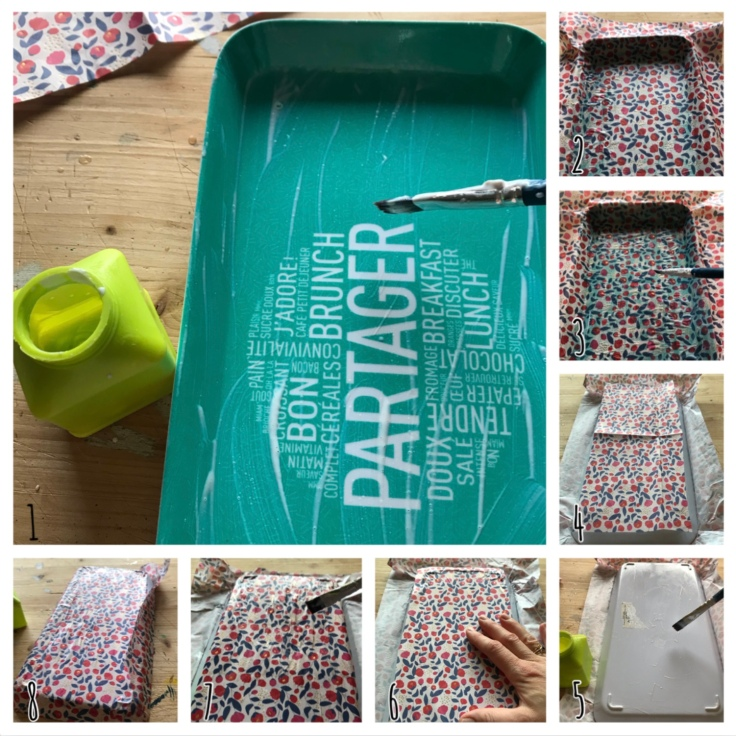 Thé fleuri - DIY - bricolage enfant - craft for kids - plateau en liberty - vernis colle - pas à pas