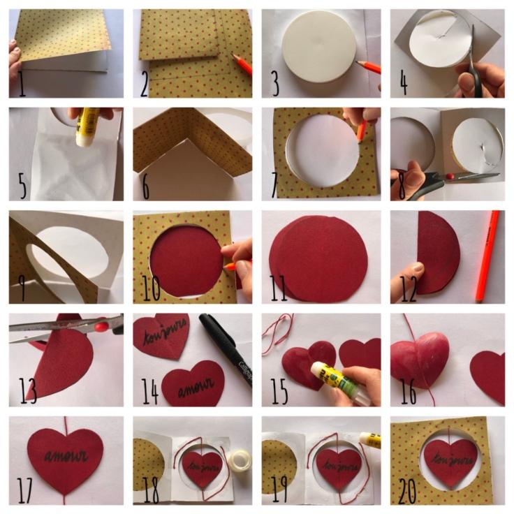 Petit message à gratter pour Valentin - DIY - bricolage enfant - craft for kids - saint Valentin - carte à gratter - message d'amour -message secret - cœur - cœur qui tourne - Pas à pas carte