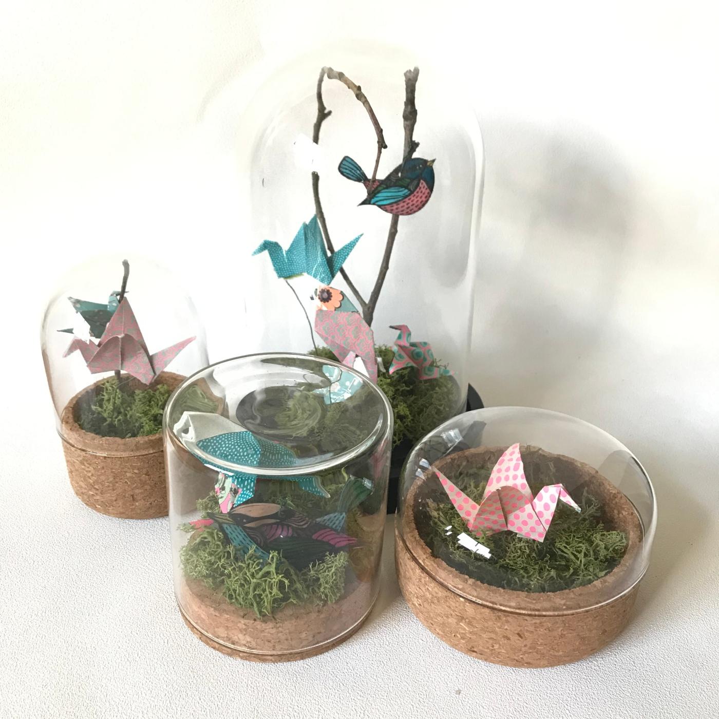 Une hirondelle ne fait pas le printemps- bricolage enfant - DIY - craft for kids - déco sou cloche - printemps - origami - oiseaux - branchages - plastique dingue - Image à la une