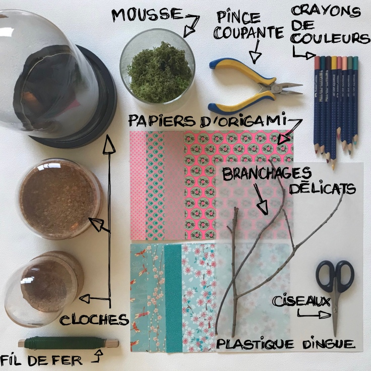 Une hirondelle ne fait pas le printemps- bricolage enfant - DIY - craft for kids - déco sou cloche - printemps - origami - oiseaux - branchages - plastique dingue - Fiche matériel