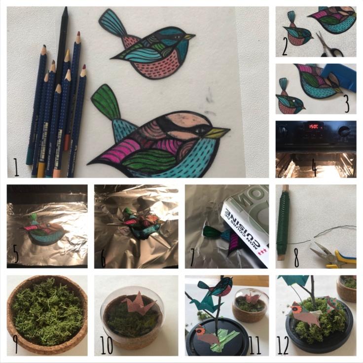 Une hirondelle ne fait pas le printemps- bricolage enfant - DIY - craft for kids - déco sou cloche - printemps - origami - oiseaux - branchages - plastique dingue - Pas à pas