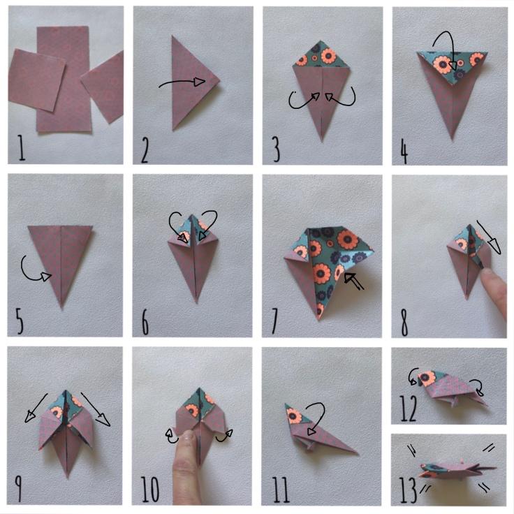 Une hirondelle ne fait pas le printemps- bricolage enfant - DIY - craft for kids - déco sou cloche - printemps - origami - oiseaux - branchages - plastique dingue - Pas à pas origami 1