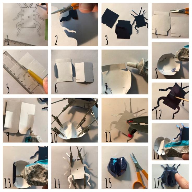 Scarabée d'expositIon - DIY - bricolage enfant - craft for kids - pliage - papier - origami - insecte encadré - cadre - Pas à pas