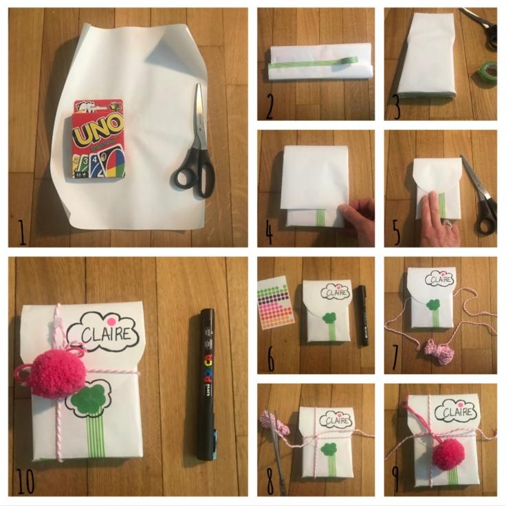 Emballé c'est pesé - DIY - bricolage enfant - craft for kids - emballage cadeaux rigolo - papier - anniversaire - pas à pas enveloppe