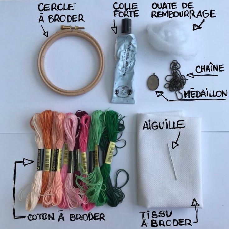 Collier brodé à l'ancienne - DIY - bricolage enfants - craft for kids - pendentif - broderie - fleurs - collier - médaillon -