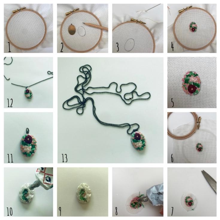 Collier brodé à l'ancienne - DIY - bricolage enfants - craft for kids - pendentif - broderie - fleurs - collier - médaillon - Pas à pas