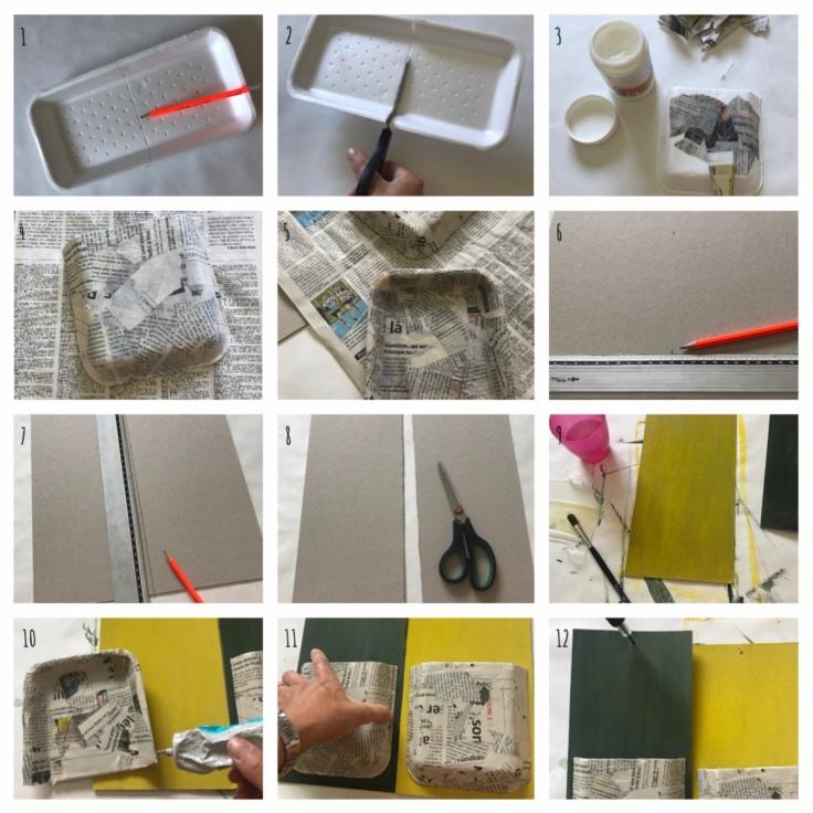 Recycler pour mieux ranger - bricolage enfant - DIY - craft for kids - rangement - recyclage - barquette en polystyrène - vernis colle - peinture - Pas à pas