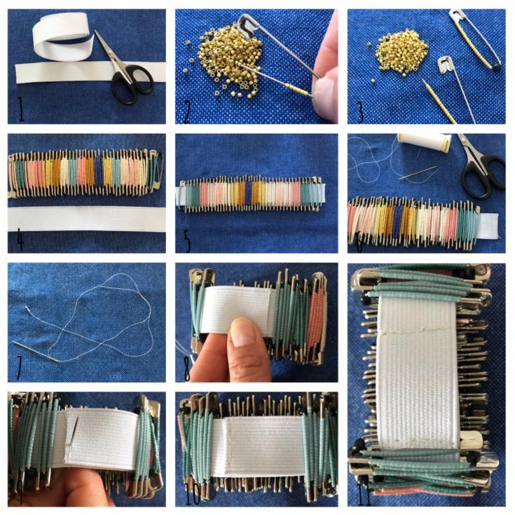 Bracelet africain miyuki - DIY - bricolage enfant - craft for kids - bracelet africain -perles - perles miyuki - épingles à nourrice - Pas à pas