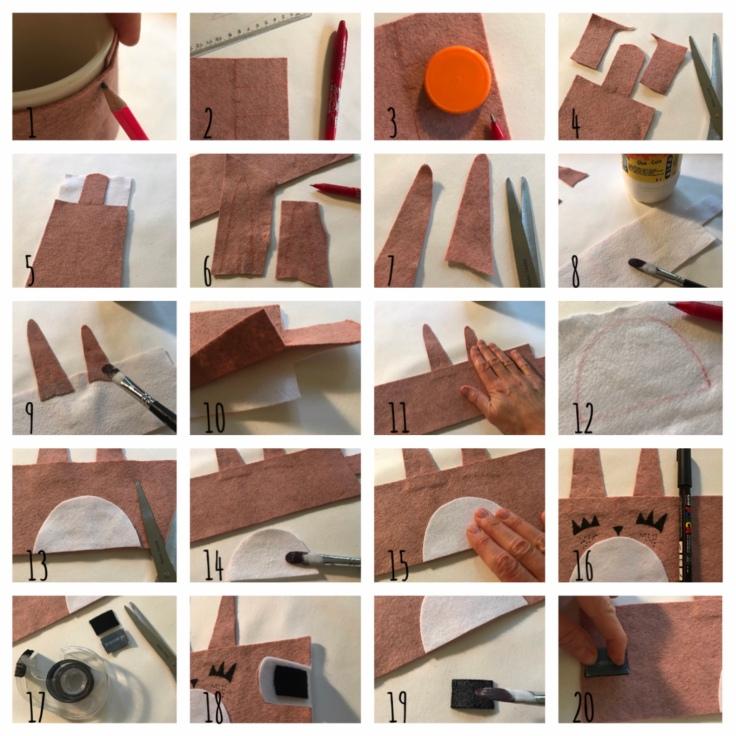 Réchauffe ton mug - DIY - bricolage enfants - craft for kids - protège mug - feutrine - lapin - pas à pas